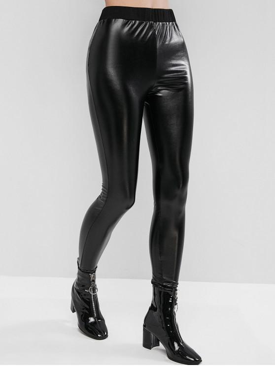 shops ZAFUL Skinny Ankle Vinyl Leggings - BLACK XL