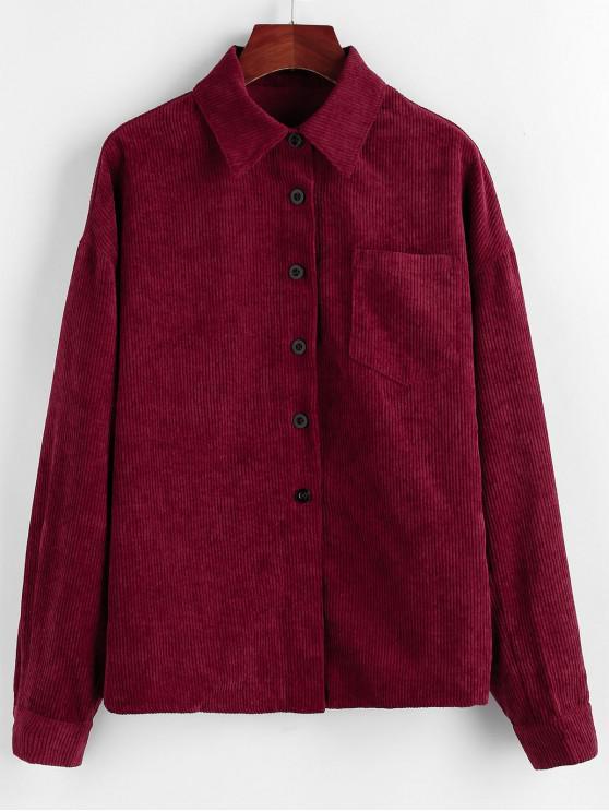 ZAFUL pana bolsillo gota camisa del hombro de la chaqueta - Vino Tinto XL