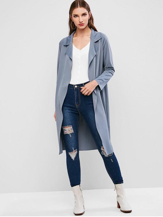 womens Topstitche Open Raglan Sleeve Pocket Longline Coat - BLUE M