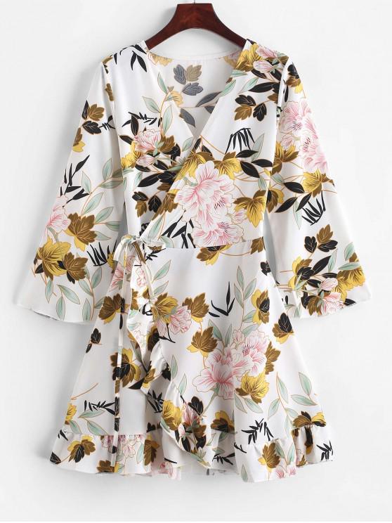 花葉荷葉邊裹身裙 - 白色 XL