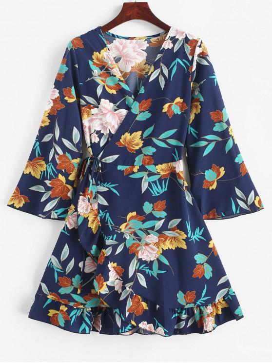 fashion Floral Leaf Ruffle Wrap Dress - MIDNIGHT BLUE XL