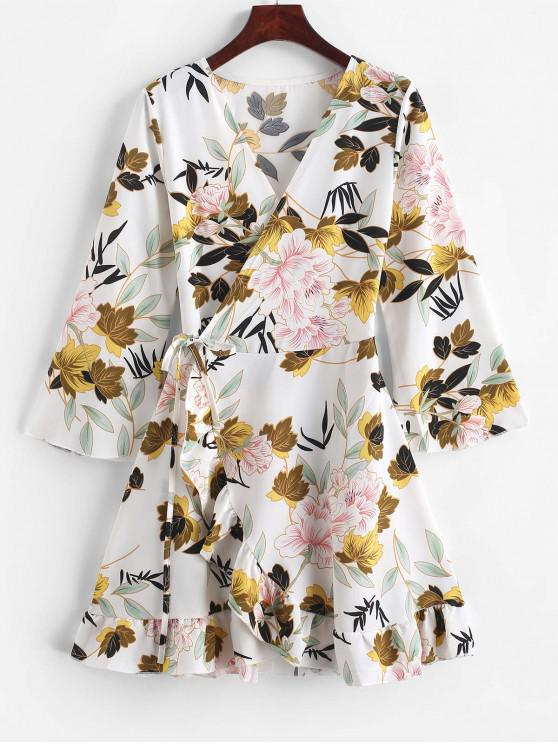sale Floral Leaf Ruffle Wrap Dress - WHITE L