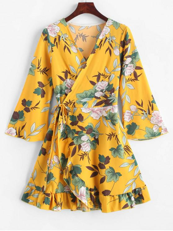 affordable Floral Leaf Ruffle Wrap Dress - YELLOW M