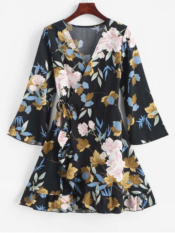 buy Floral Leaf Ruffle Wrap Dress - BLACK XL