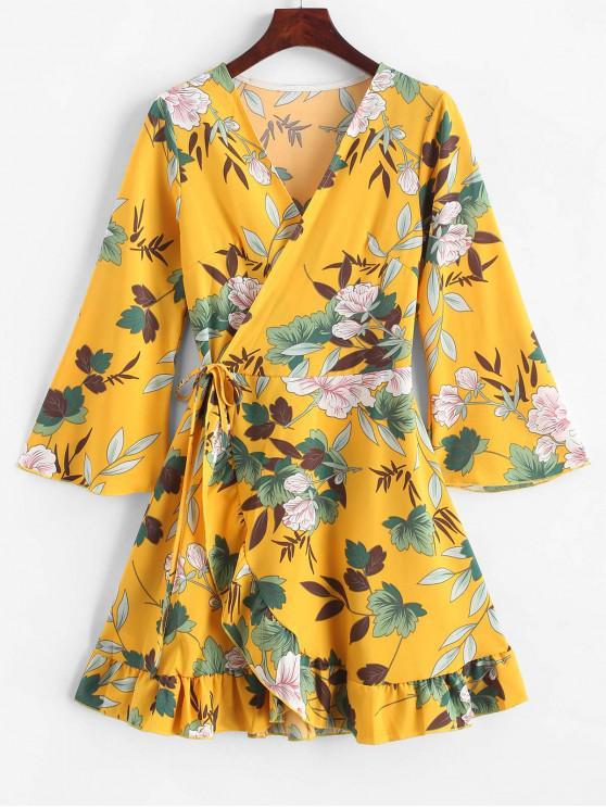 best Floral Leaf Ruffle Wrap Dress - YELLOW XL
