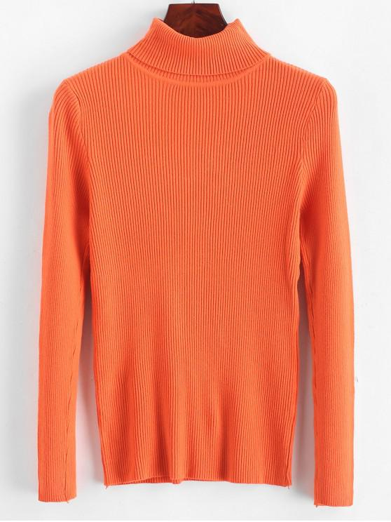trendy Turtleneck Ribbed Slim Knit Plain Sweater - LIVING CORAL ONE SIZE