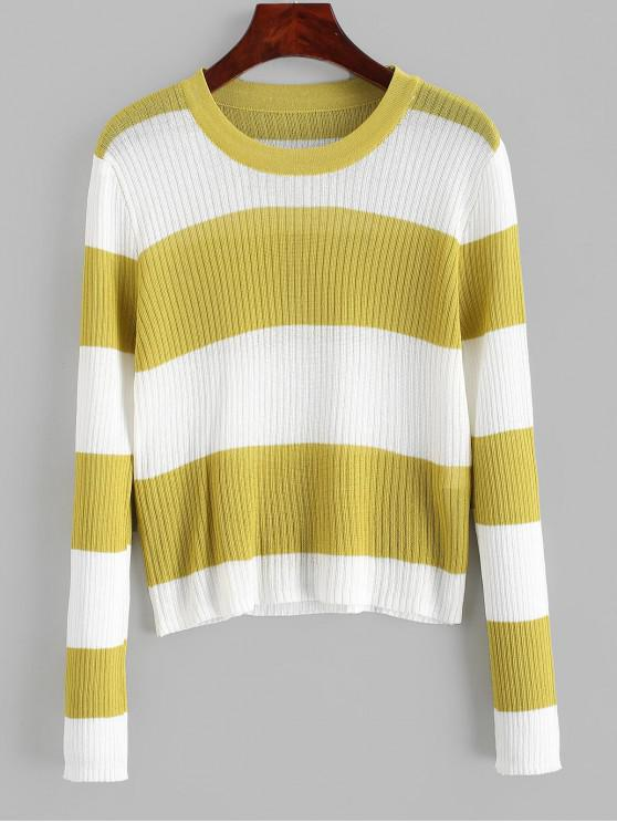 buy Contrast Two Tone Striped Knitwear - GINGER BROWN ONE SIZE