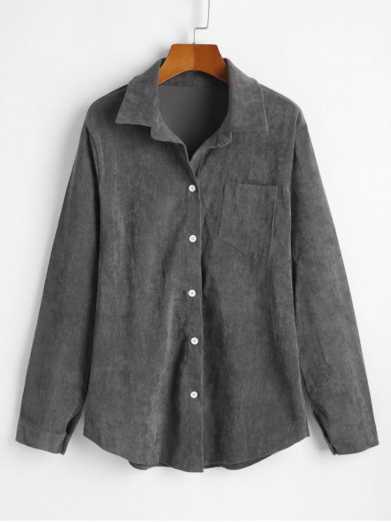 زر سروال قصير الجيب حتى سترة القميص - اللون الرمادي XL
