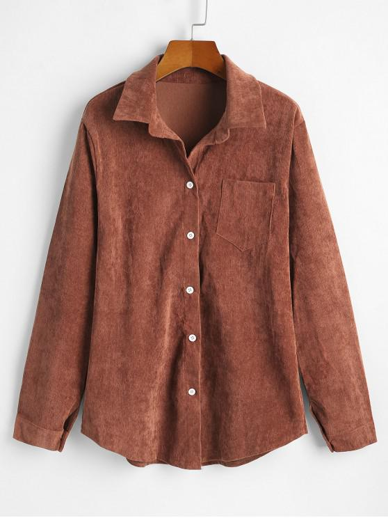 ladies Corduroy Pocket Button Up Shirt Jacket - ORANGE SALMON L