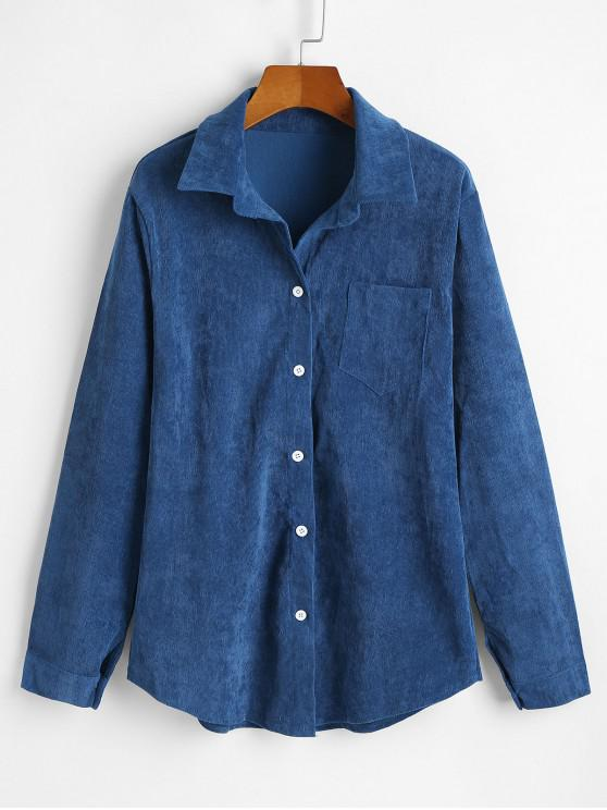 lady Corduroy Pocket Button Up Shirt Jacket - PEACOCK BLUE XL