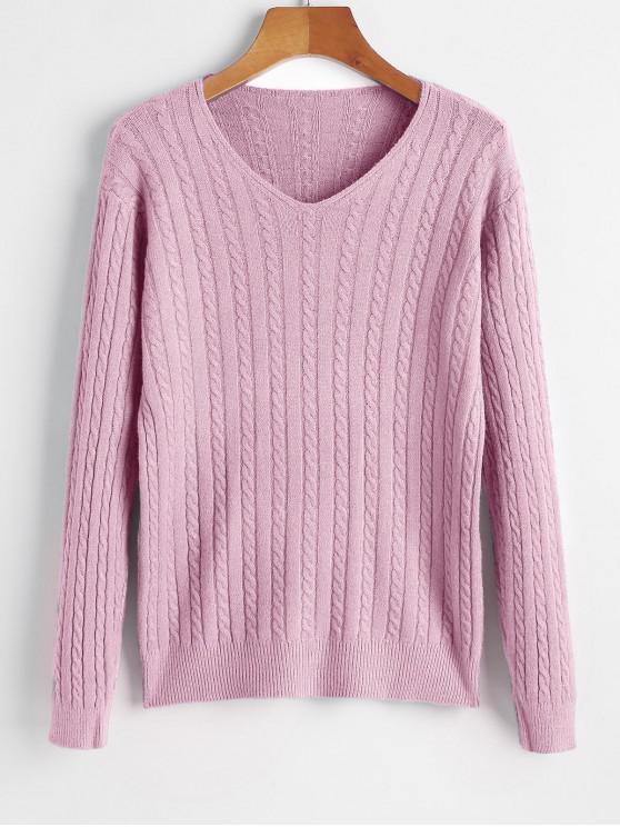 V Neck Cable Knit Jumper suéter - Rosado Talla única