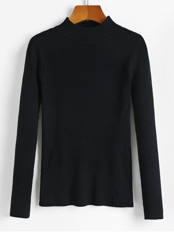 unique Ribbed Mock Neck Slim Knitted Sweater - BLACK ONE SIZE