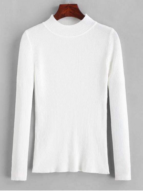women's Ribbed Mock Neck Slim Knitted Sweater - WHITE ONE SIZE
