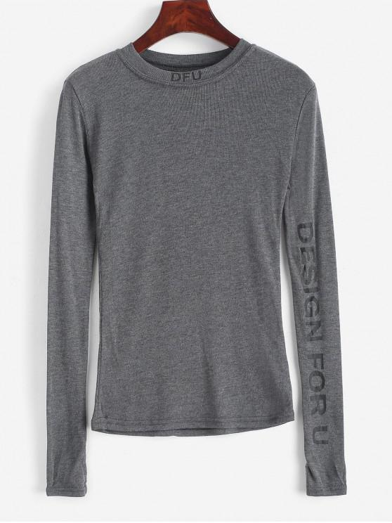 online Graphic Crew Neck Long Sleeve Slim Tee - GRAY ONE SIZE