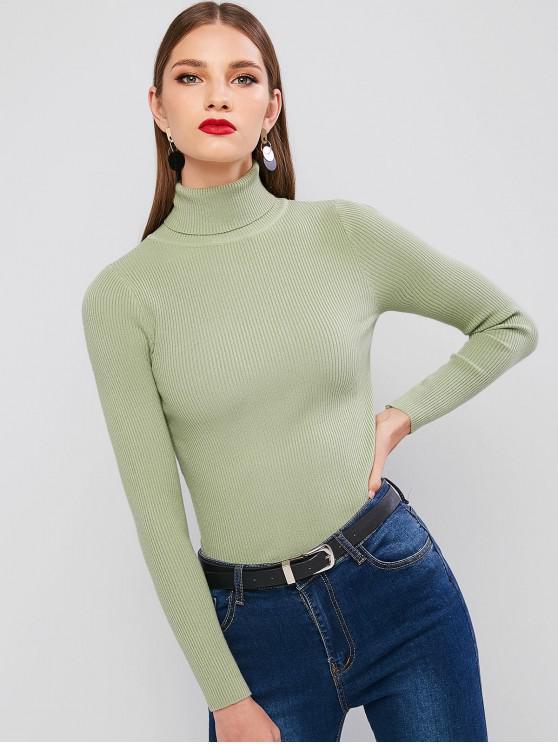 new Turtleneck Ribbed Slim Knit Plain Sweater - GREEN SNAKE ONE SIZE