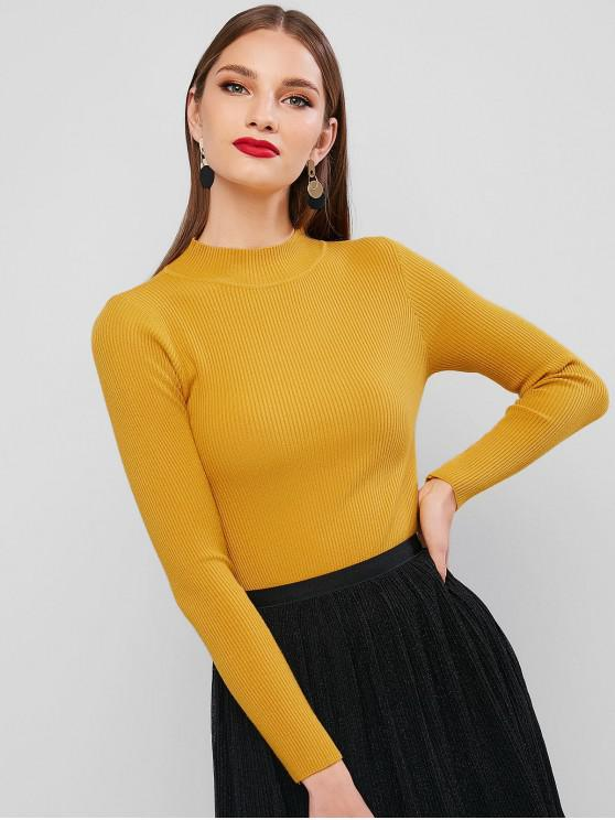 outfit Ribbed Mock Neck Slim Knitted Sweater - YELLOW ONE SIZE