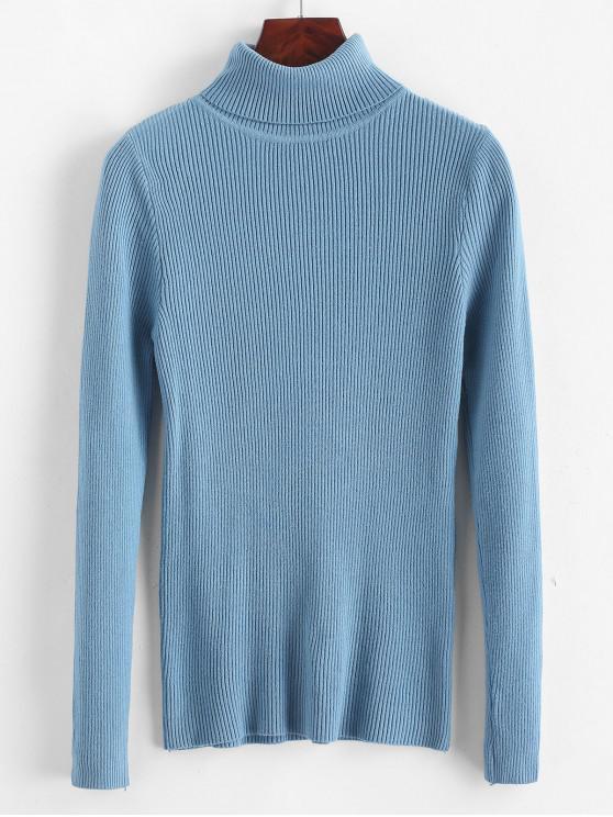 Acanalado cuello alto delgado suéter de punto liso - Azul Talla única