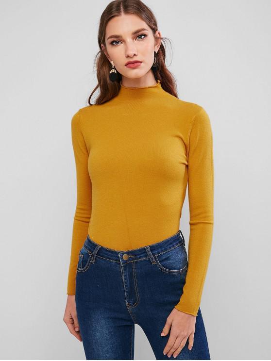 shop High Neck Roll Trim Plain Slim Knitwear - YELLOW ONE SIZE