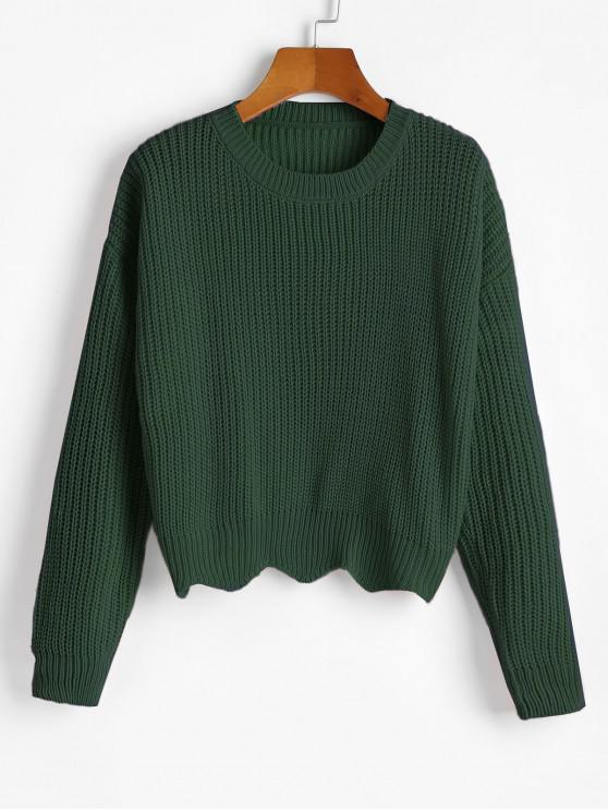 shops Zigzag Hem Solid Loose Sweater - DEEP GREEN ONE SIZE