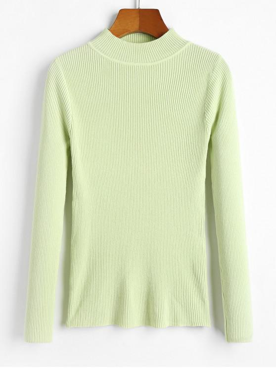 sale Ribbed Mock Neck Slim Knitted Sweater - CLOVER GREEN ONE SIZE