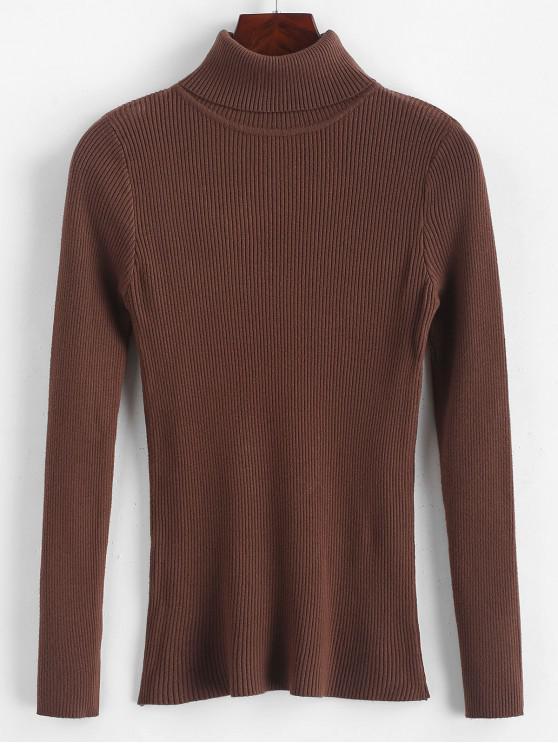 buy Turtleneck Ribbed Slim Knit Plain Sweater - COFFEE ONE SIZE