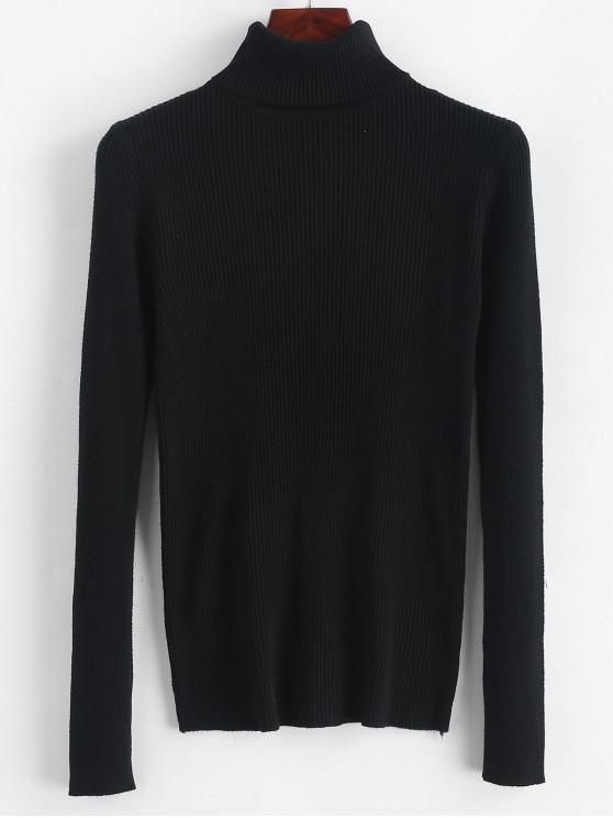 Acanalado cuello alto delgado suéter de punto liso - Negro Talla única