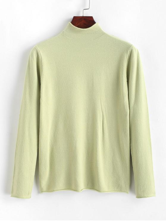 women High Neck Roll Trim Plain Slim Knitwear - SHAMROCK GREEN ONE SIZE