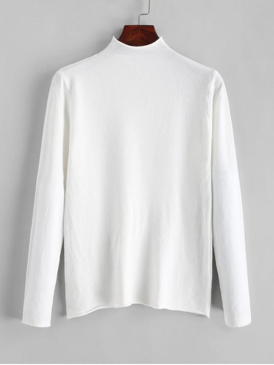 ladies High Neck Roll Trim Plain Slim Knitwear - WHITE ONE SIZE