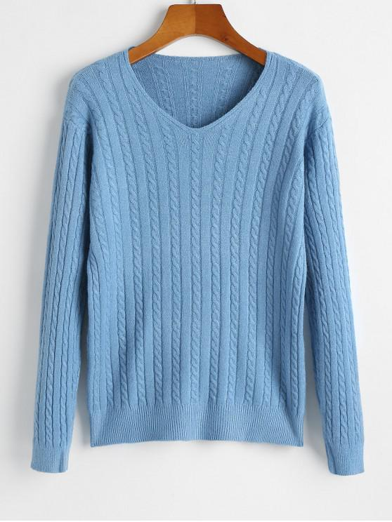 lady V Neck Cable Knit Jumper Sweater - BLUE ONE SIZE