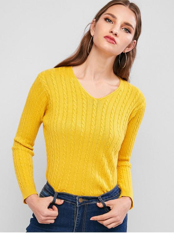 hot V Neck Cable Knit Jumper Sweater - YELLOW ONE SIZE