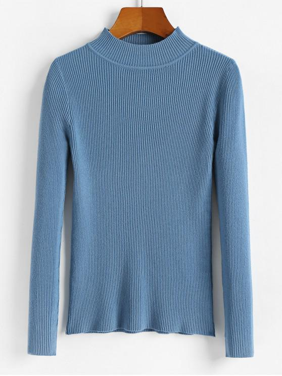 shop Ribbed Mock Neck Slim Knitted Sweater - BLUE IVY ONE SIZE
