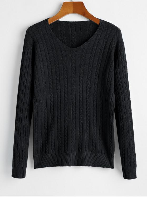 shops V Neck Cable Knit Jumper Sweater - BLACK ONE SIZE