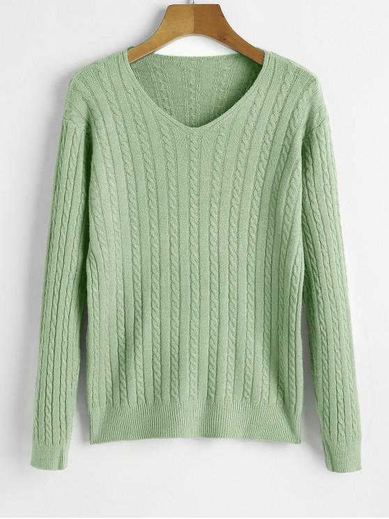 V Neck Cable Knit Jumper suéter - Verde Talla única