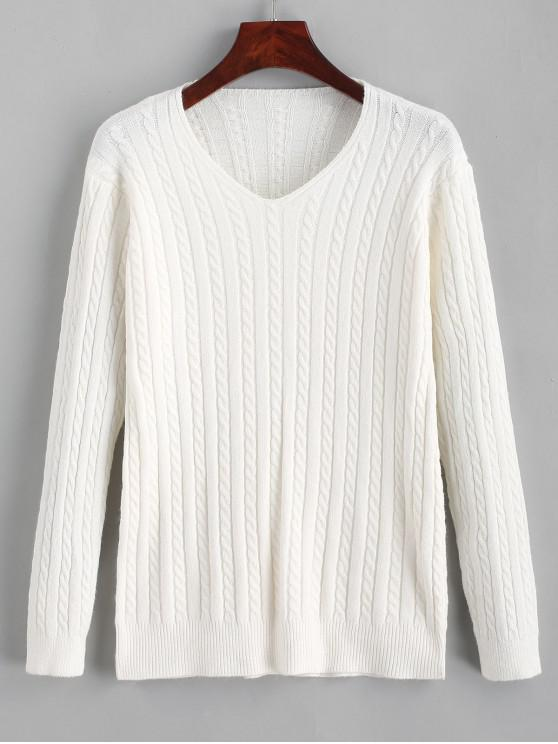 fancy V Neck Cable Knit Jumper Sweater - WHITE ONE SIZE