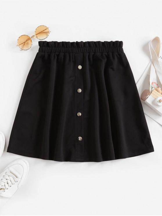 outfits ZAFUL Mock Button Ruffle Mini Skirt - BLACK L
