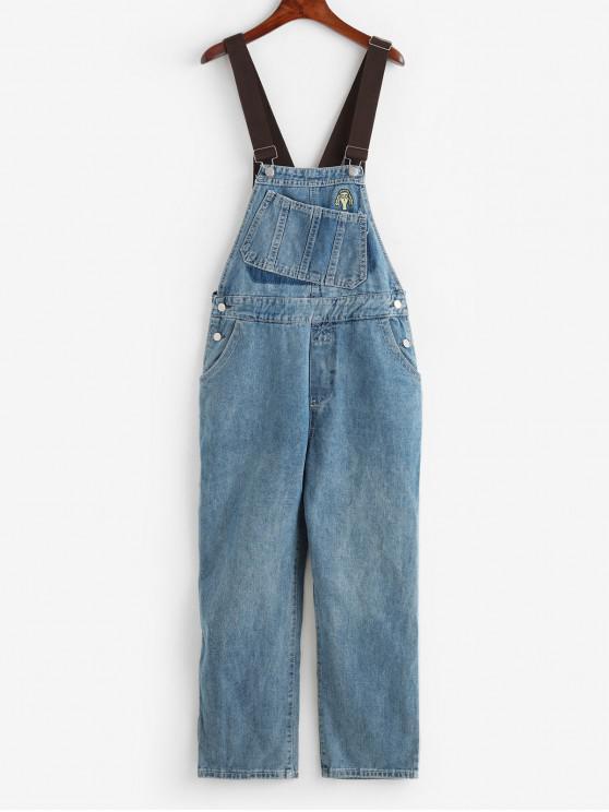 shop Wide Leg Pocket Denim Pinafore Jumpsuit - BLUE L