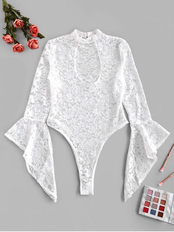 shop Flower Lace Bell Sleeve High Leg Lingerie Teddy - WHITE L