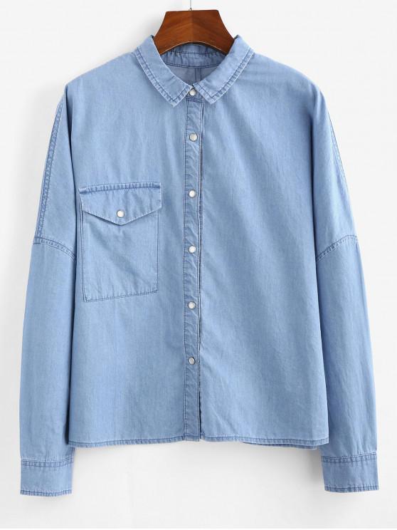 Camisa ZAFUL bolsillo delantero de cambray - Azul Denim L