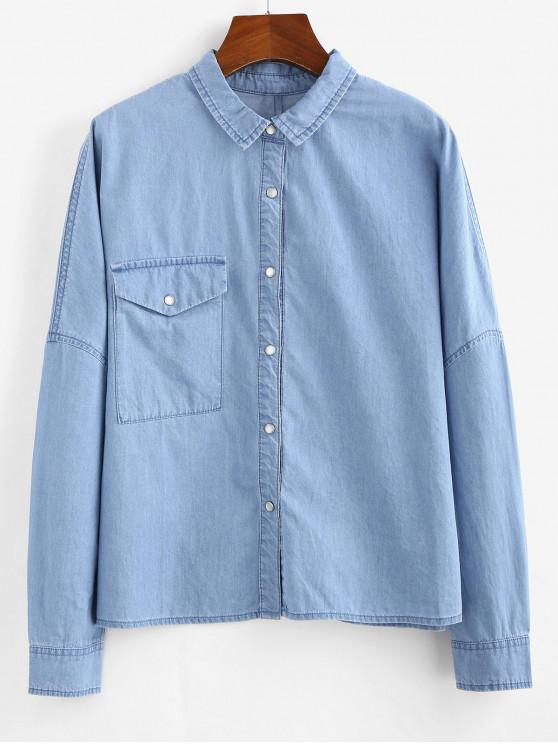 outfits ZAFUL Front Pocket Chambray Shirt - DENIM BLUE L