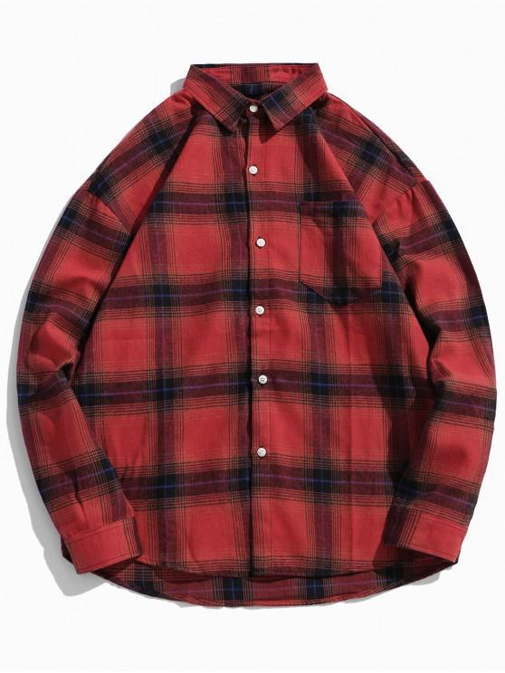 shop Checkered Print Chest Pocket Long Sleeve Button Shirt - RED L