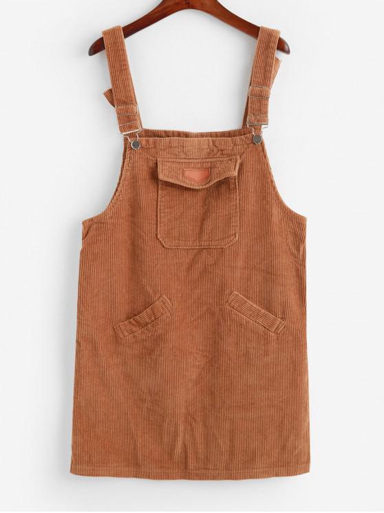 Pana bolsillo de hendidura recta vestido del delantal - Marrón XL