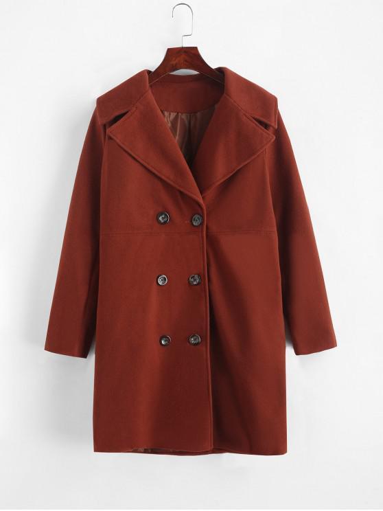 lady Longline Pocket Peacoat - CHERRY RED XL