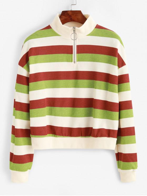 unique Striped Quarter Zip Drop Shoulder Knit Sweatshirt - MULTI ONE SIZE