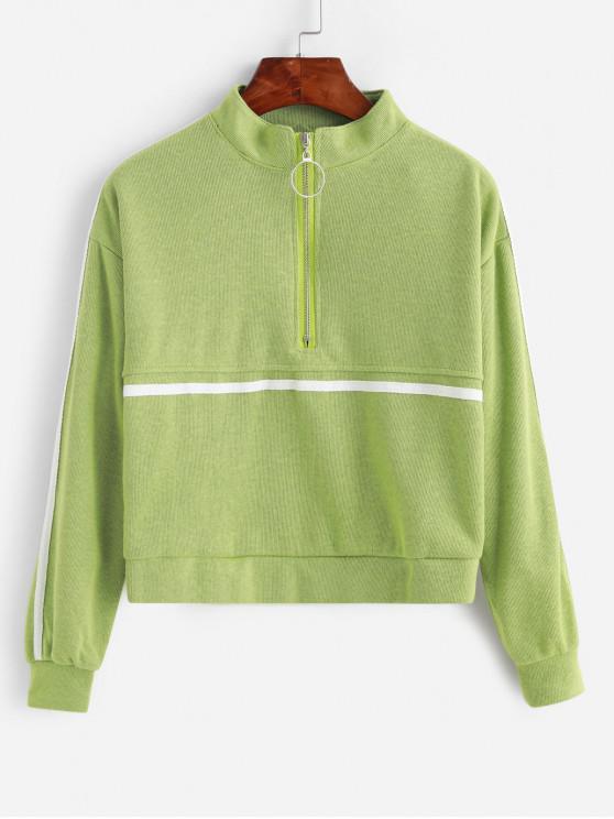 Camisola Knit metade Zip gravado Gota Shoulder - Verde Um Tamanho