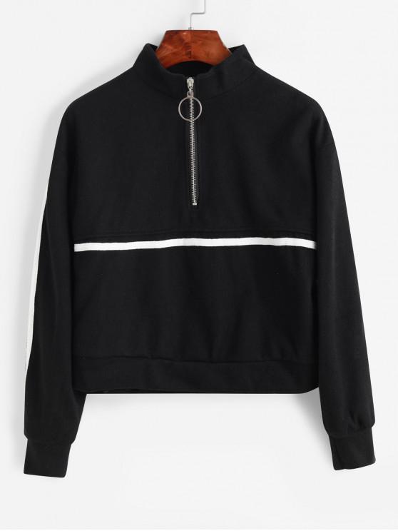 Sweat-Shirt Tricoté à Demi-Zip à Goutte Epaule - Noir Taille Unique