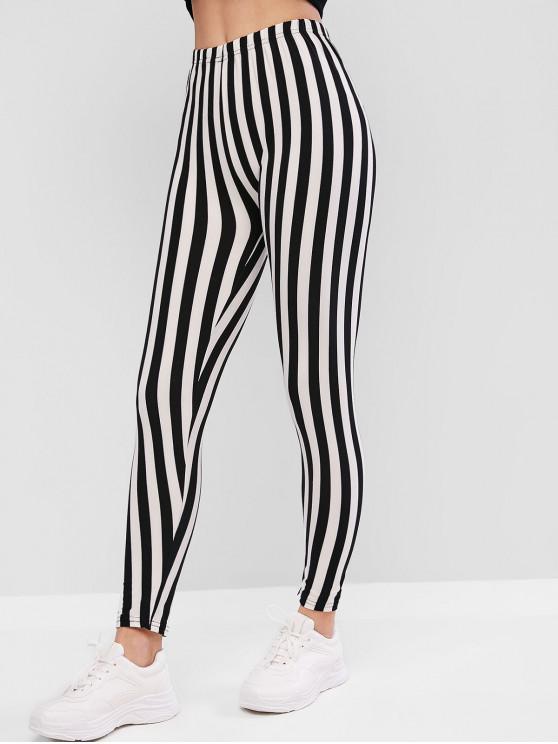trendy High Waisted Pull On Stripes Leggings - BLACK ONE SIZE