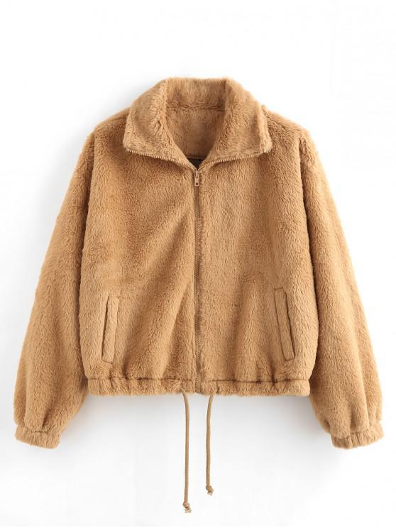 best ZAFUL Faux Fur Drop Shoulder Drawstring Hem Coat - TAN L