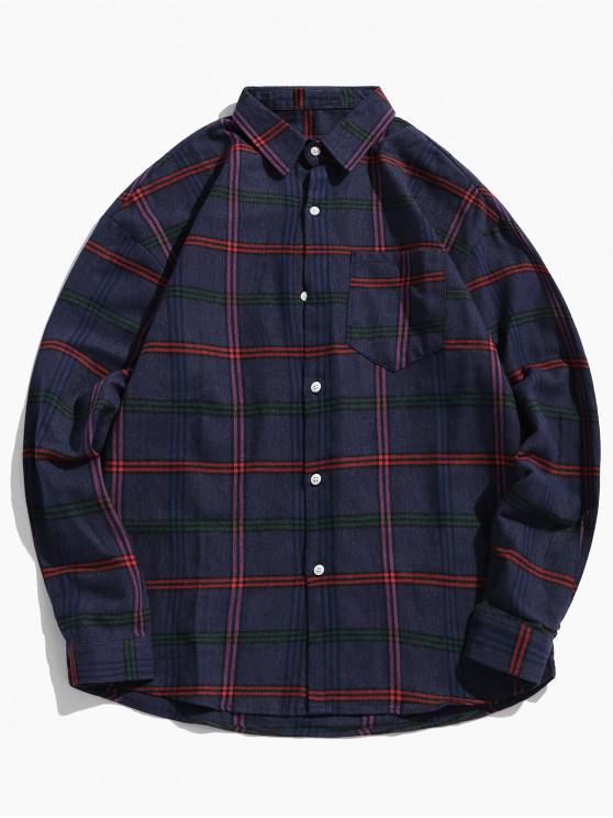 women Checkered Print Chest Pocket Curved Hem Shirt - BLUE L