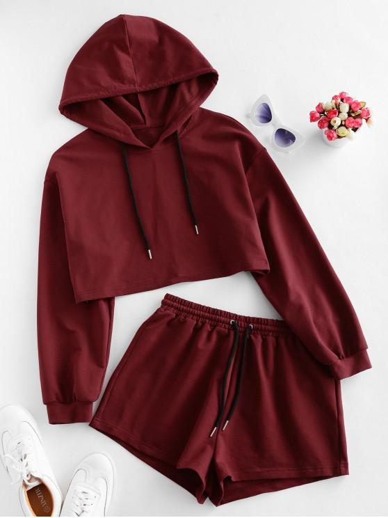 hot ZAFUL Drawstring Hooded Drop Shoulder Shorts Set - RED WINE S