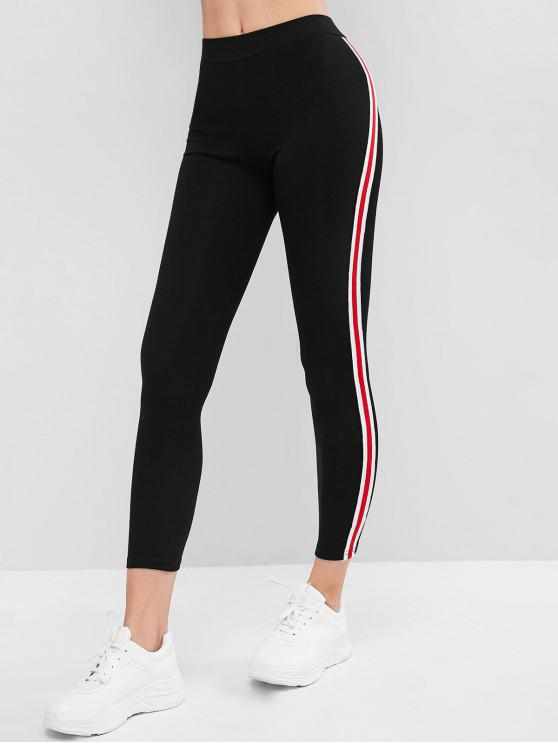 outfit Side Striped Patched Capri Leggings - BLACK ONE SIZE